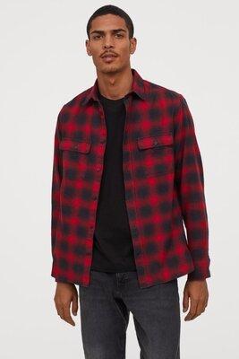 S/М/L/XL Новая H&M фирменная мужская баевая хлопковая рубашка клетка