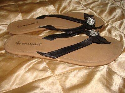 шлепанцы Atmosphere оригинал 38р 24.5 см черные сандалии босоножки вьетнамки
