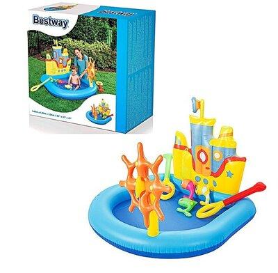 Игровой центр надувной Bestway 52211 6шт Корабль , 190 142 97см, руль, рыбки, игрушки, ремкомплек