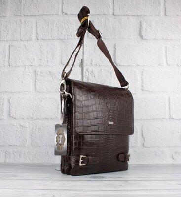 Продано: Мужская кожаная сумка через плечо desisan 1327-19 коричневая кроко большая