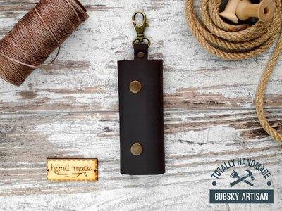 Ключница кожаная карманная коричневая, чехол для ключей на 4 карабина
