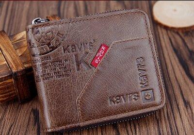 Мужской кожаный кошелек Kavis на молнии .Кожаное портмоне. Видеообзор Ек61