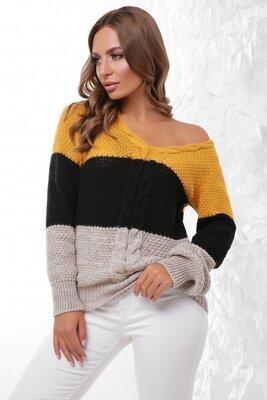 Вязаный трехцветный женский джемпер. Женские свитера кофты. Размер 44-50.