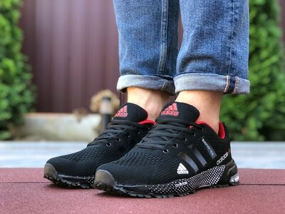 Adidas Marathon TR 26 кроссовки мужские демисезонные черные с красным 9651