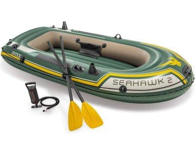 Двухместная надувная лодка Intex 68347 Seahawk 2 Set, 236 х 114 см, веслами и насосом