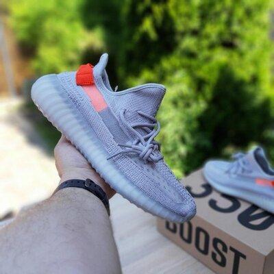 Кроссовки Adidas Yeezy Boost 350 Серые с оранжевым