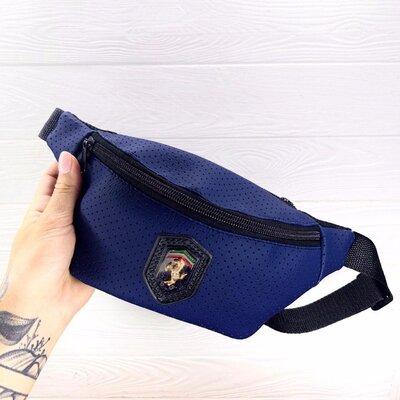 Бананка поясная сумка синяя Puma Ferrari перфорированный кожзам