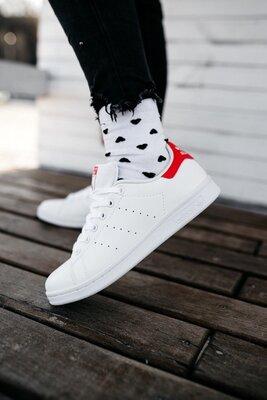 Кроссовки Adidas Stan Smith White Red AAA