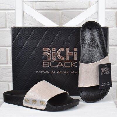 Шлепанцы женские кожаные Richi Black розовые