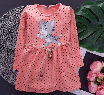 Детское красивое модное платье с пояском в горошек Котенок