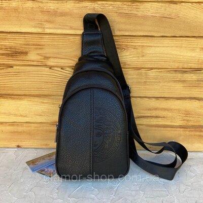 Продано: Мужская нагрудная сумка слинг через плечо чёрная чоловіча сумка слінг чорна Versace стильная