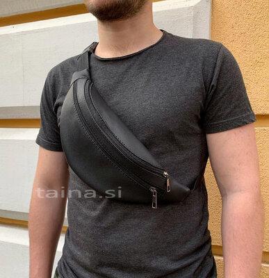 Черная мужская бананка вместительная сумка на пояс через плечо удобная барсетка два отдела