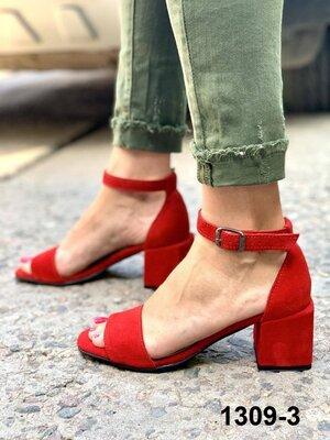 Женские красные натуральные замшевые босоножки на каблуке из натуральной замши натуральная замша