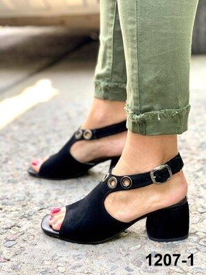 Женские чёрные натуральные замшевые босоножки на каблуке из натуральной замши натуральная замша замш
