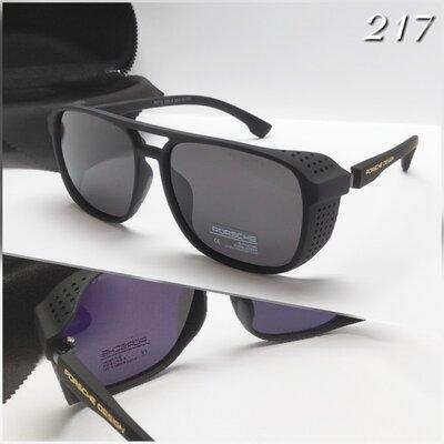 Мужские очки солнце Porsche design с шорами черные поляризация