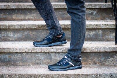 Мужские черные кроссовки демисезонные, прошитые Кф-7Ч