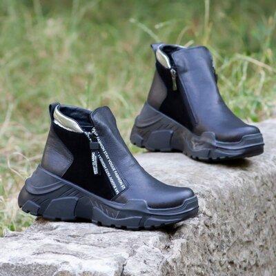 Черные кожаные демисезонные ботинки на танкетке