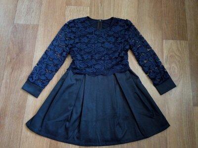 Отличное нарядное платье с гипюром для девочек. Школьное платье. Для школы