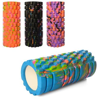 Валик массажный, роллер, ролик для фитнеса и йоги с принтом MS 0857-1