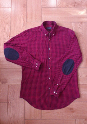 Рубашка мужская в клетку хлопковая с длинным рукавом и патчами Zara Сорочка чоловіча Зара