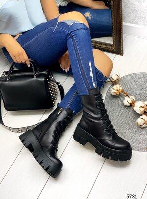 Женские натуральные кожаные персиковые чёрные белые деми ботинки на шнуровке на тракторной подошве