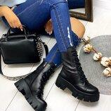 Женские натуральные кожаные персиковые чёрные белые ботинки на шнуровке на тракторной подошве