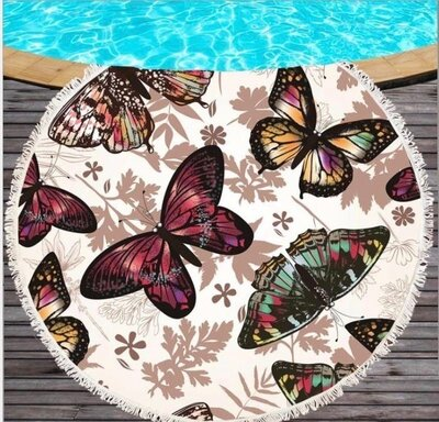 Пляжный коврик-полотенце, подстилка круглая 150 см Бабочки
