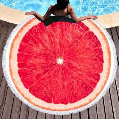 Пляжный коврик-полотенце, подстилка круглая 150 см Грейпфрут