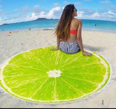 Пляжный коврик-полотенце, подстилка круглая 150 см Лайм