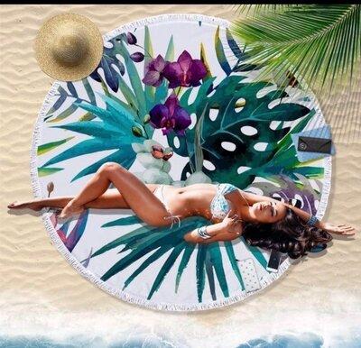 Пляжный коврик-полотенце, подстилка круглая 150 см Орхидея