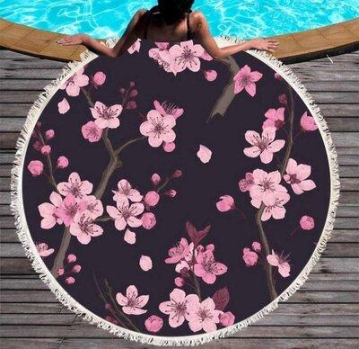 Пляжный коврик-полотенце, подстилка круглая 150 см Сакура