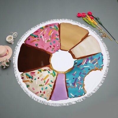Пляжный коврик-полотенце, подстилка круглая 150 см Сладкий пончик