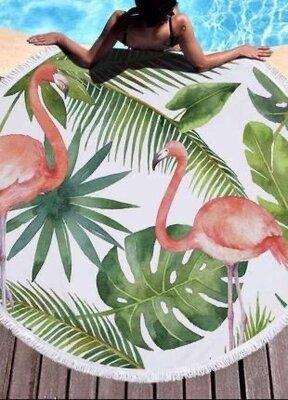 Пляжный коврик-полотенце, подстилка круглая 150 см Фламинго