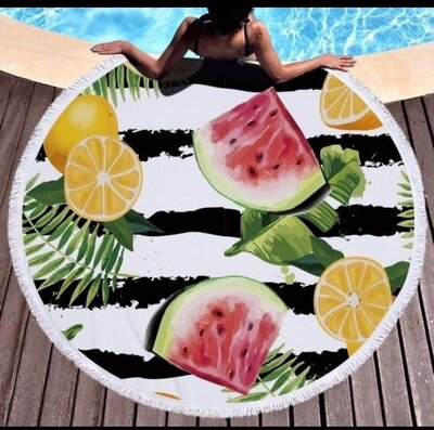 Пляжный коврик-полотенце, подстилка круглая 150 см Фруктовый микс