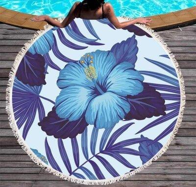 Пляжный коврик-полотенце, подстилка круглая 150 см Цветы