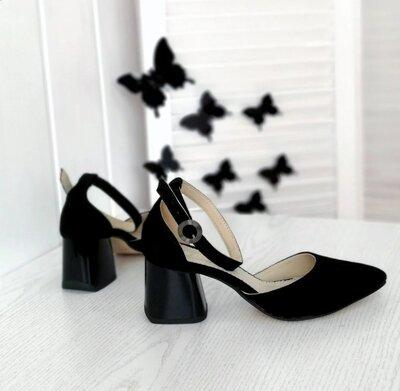 Женские чёрные натуральные замшевые остроносые босоножки открытые туфли из натуральной замши замша