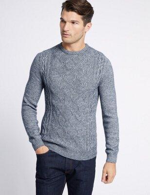 Мужская кофта джемпер с шерстью хаки Marks & Spencer M