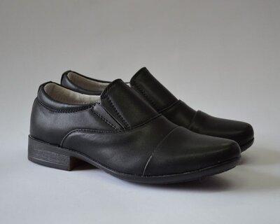 Черные школьные туфли B&G для мальчика р.33,35,36