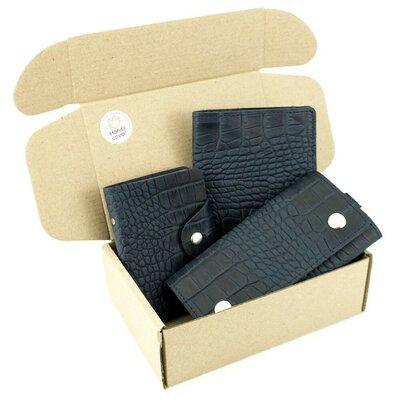 Продано: Подарочный набор 29 Обложка на паспорт ключница визитница синий крокодил