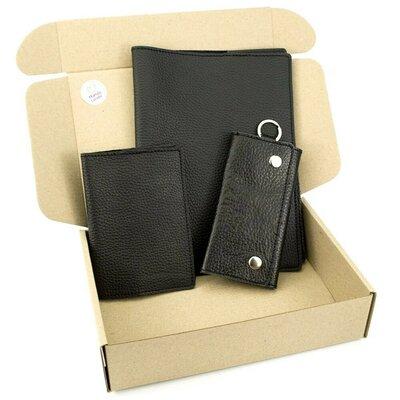Продано: Подарочный набор 25 Обложка на ежедневник обложка на паспорт ключница черный флотар