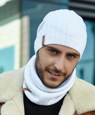 Мужской комплект шапка и шарф-хомут Реал, 5129-7