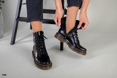 Люкс Качество 36-41 Женские натуральные зимние ботинки мартинсы Dr. Martens мартенсы ботиночки