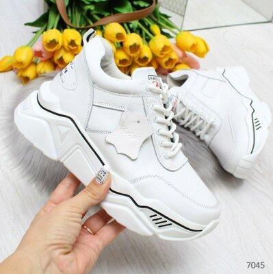 Белые кожаные кроссовки деми, женские кожаные кроссовки, жіночі кросівки 38,40р код 7045