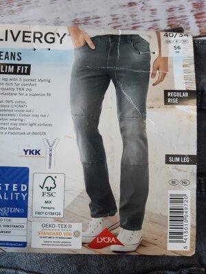 Серые джинсы slim fit xxl 56 40-34 , Livergy, lidl, германия