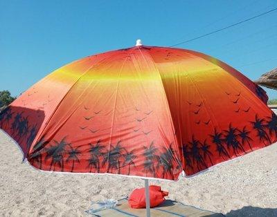 Зонт пляжный 5 цветов d 150 см., длина 180 см.