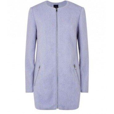 Новое шерстяное ворсистое пушистое лиловое пальто на молнии