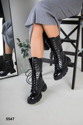 Деми и Зима Стильные женские ботинки черные