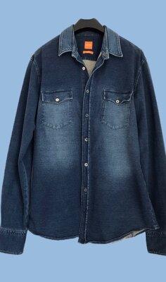 Брендовая джинсовая хлопковая рубашка HUGO BOSS.