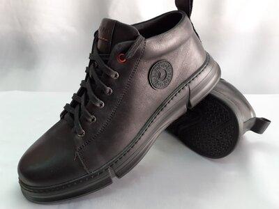 Комфортные кожаные демисезонные ботинки на шнурках Detta 40,41,42,43,44,45р.