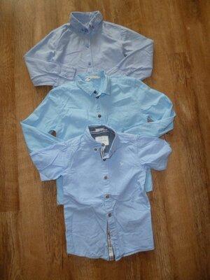 Школьная рубашка на 7-8 лет с длинным и коротким рукавом H&M рубашка на 7-8 лет , отличное состоян